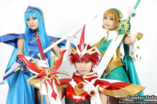 magic knight rayearth cosplay - ryuuzaki umi, shidou hikaru, and hououji fuu